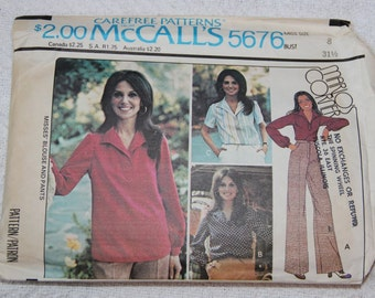 Forward Shoulders Blouse and Pants 1970s Vintage Sewing Pattern MCCALL'S 5676