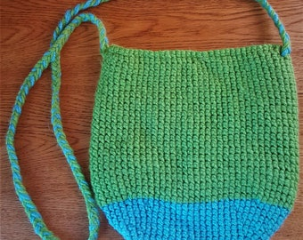 Crocheted Purse, Over the Shoulder, with Butterfly Pattern Inside