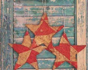 3 Rustic Star Ornaments, Primitive Americana Decor, Antique Quilt Tattered Stars, Patriotic Farmhouse Style, Red White Black - READY TO SHIP