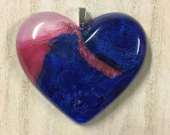 Resin Art Heart Pendant--Deep Blue and Pink--Alcohol Ink Art--Handmade--OOAK--Unique--Great Gift