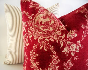 Red Toile Pillow, French Country Toile Pillow, Waverly Floral Red Waverly Country House Toile Red BOTH SIDES 0