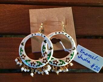 Indian enamel chandelier earrings