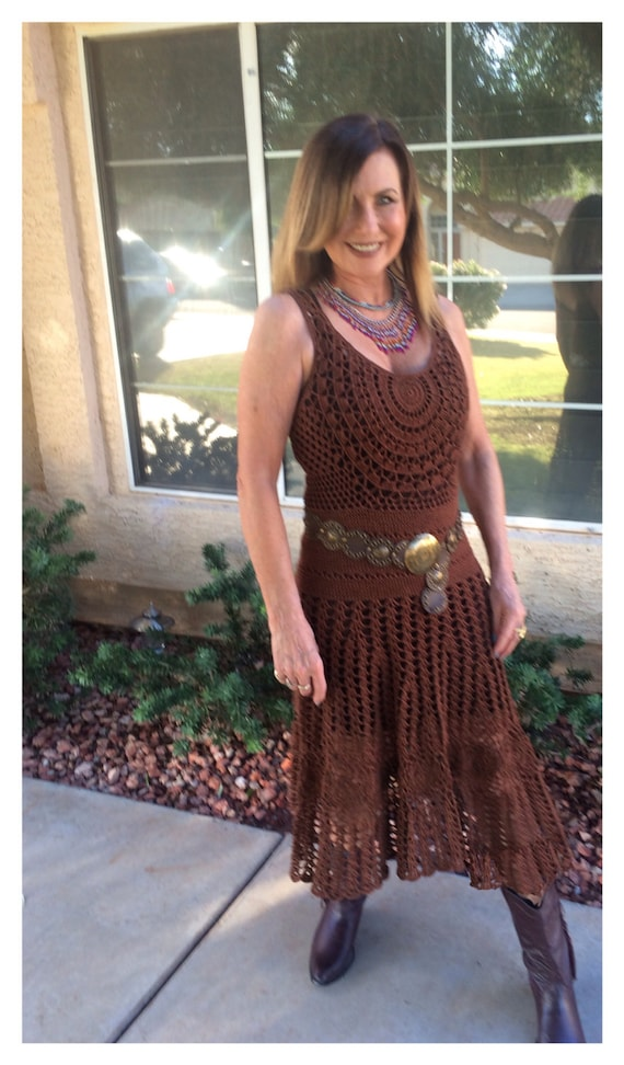 Crocheted Gypsy / Boho Half Moon Custom Dress . Made to Order