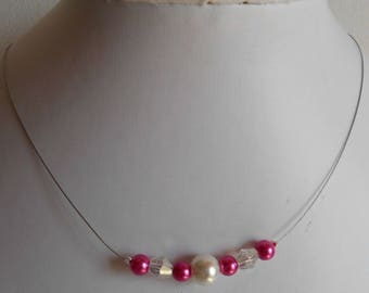 """Necklace """"collection harmony"""" fuchsia and ivory"""