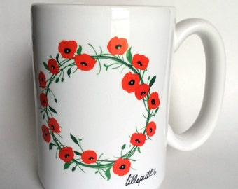 Orange Poppy Wreath Coffee Mug Large 15oz USA MADE