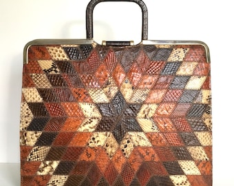 Vintage large unused 'starburst' design 70s snakeskin handbag/case with mock crocodile leather back in rich browns and orange