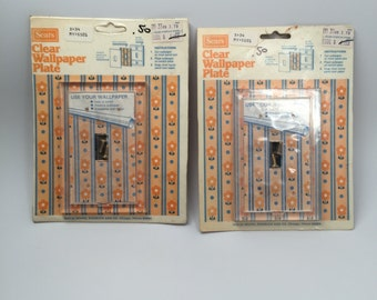 Set of Two Vintage Clear Acrylic Switch Plates from the Sears Surplus Store New Old Stock