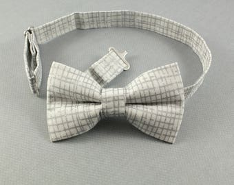 White and Silver Cotton bowtie for boys, adjustable pretied kids bowtie, christening bowtie; new years bowtie