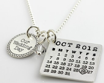 Our Wedding Day Mark Your Calendar Necklace with Fancy Border hand stamped and personalized sterling silver necklace with pearl