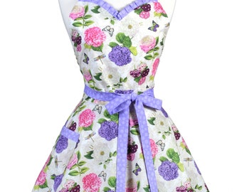 Sweetheart Retro Apron - Flower Shower Purple Pink Roses Apron - Womens Flirty Sexy Kitchen Pinup Cute Apron with Pocket - Monogram Option