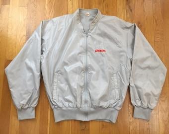 Vintage 90's Crestar Bank jacket size M grey full zip coaches bomber shell windbreaker money financial suntrust