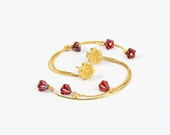 long ruby stud earrings triple gold miniature flowers glass beads blush pink jewelry пя230