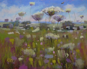 Summer Landscape Queen Annes Lace  Wildflowers with Bumblebees Original Pastel Painting Karen Margulis 18x24