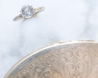 Antique Engagement Ring - Victorian White Sapphire Ring - Alternative Wedding Jewelry