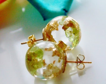 Peridot Earrings, Natural Peridot with Gold Flakes, Stud Orb, August Birthstone, Eco Resin Orbs, Eco Resin, Jewelry for Women, Gift for Her