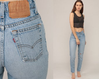 Levis Jeans Skinny RIPPED Jeans 80s Grunge High Waist Levi Denim Pants Mom  90s Vintage Faded 8cda60c7b3