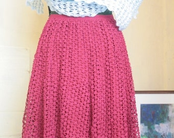 Lace Skirt, Knee length,  Burgundy Lace Skirt,  Size 10