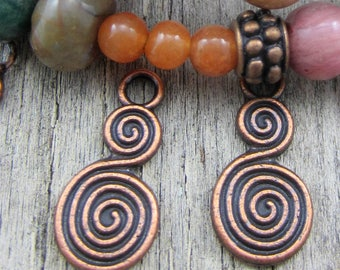 18 Copper swirl pendants jewelry making charms ethnic double sided charms spiral bohemian boho tribal 18mm x 8mm Bus1850-(DD7)