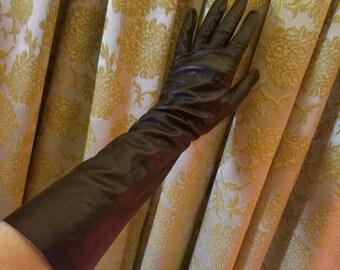 Vintage 1950's 1960's Black Kid Leather Gloves Size 6 1/2 Fetish
