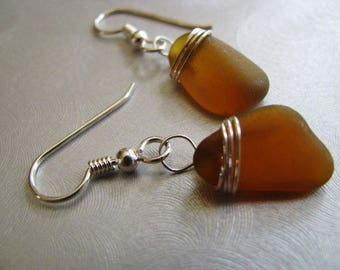 Sea Glass Earrings - Amber Brown - Dangle Earrings - Wire Wrapped Sea Glass - Prince Edward Island sea glass -pure sea glass - ocean jewelry