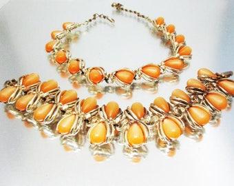 Moonglow Halskette Armband unbenutzt weich Orange Teardrops Orange Halskette Orange Armband