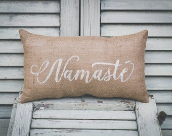 Namaste Pillow Home Decor Pillow Decorative Pillow Yoga Pillow Yogi burlap pillow fabric pillow 15x10 accent pillow