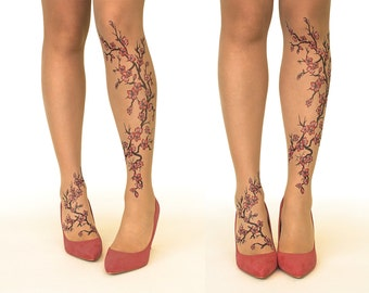 FREE SHIPPING: Tattoo Tights/Pantyhose with Cherry Blossoms