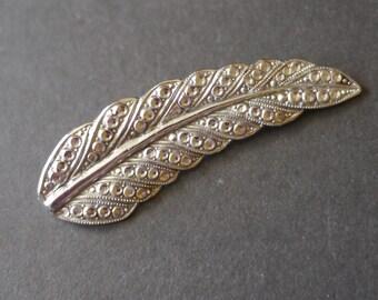 Vintage Staybrite 1950s faux marcasite leaf brooch