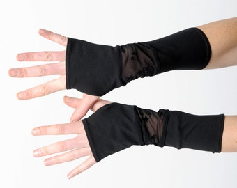 Black starry armwarmers, Black patchwork gloves, Jersey and lace fingerless gloves, Black lacy wrist warmers, Gift for women, MALAM