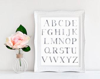 Watercolor Alphabet Printable – Printable Wall Art - Nursery Wall Art – Watercolor Nursery Alphabet - Instant Download Gallery Printable
