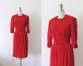 Vintage 1940s red rayon day dress | 40s dress | 40s utility dress | shoulder pads strong shoulders | collar pockets | shirred sleeves | S