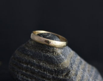 Hammered 14k Yellow Gold Band, 3mm Wide Handmade Solid Gold Band, Hammered Band, Textured Wedding Band, EcoFriendly, Ready to Ship Gold Ring
