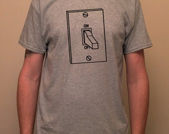 switch, on / off, switched on, switch off, restart, pop - printed T-shirt