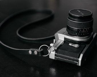 Skinny Leather Camera Strap - Black - Mirrorless Camera Strap - Film Camera Strap