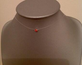 4 mm orange red crystal rhinestone Choker necklace