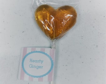 Hearty Ginger lollipops 12 count
