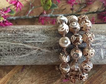 Brown Lace Agate Necklace or Triple Wrap Bracelet