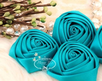Sierra: 4pcs TEAL GREEN - 50mm Adorable Rolled Satin Rose Rosettes Fabric flowers. Hair Accessories. Dark Teal Satin Rose Rosette Flowers