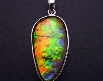 Freeform Ammolite Doublet sterling silver pendant