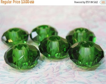 ON SALE 4 Emerald Green Large Hole 32 Facet Glass Rondelle Beads 14mm x 8mm with 5mm hole