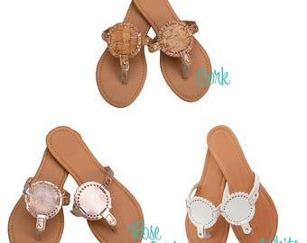 Monogram Personalized Interchangeable Disk Sandals, Rose Gold Sandals, Cork Sandals, White Sandals, Bridal Party Sandals