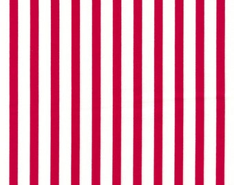 """Stripes RED 100% Cotton Poplin ~ 44"""" Wide ~ Sold by the Yard"""