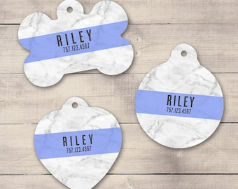 Marble Blue Pet ID Tag, Custom Pet Tag, Personalized Dog Tag, Dog ID Tag, Wood Print Pet Tag, Puppy Tag, Dog ID, Pet Tag, Cat Tag (0002)