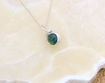 Ruby Zoisite Gemstone Pendant- Ruby Zoisite Necklace- Green Gemstone Pendant- Heart Chakra- Ruby in Zoisite- Delicate Necklace