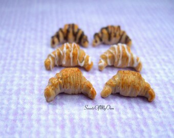 Croissant Earrings - French Croissant Stud Earrings - French Breakfast Bakary Jewellery - Handmade in the UK with Fimo Clay