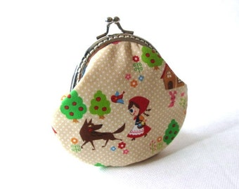 Little red riding hood frame coin pouch cotton fabric silver kiss lock clasp purse, beige cotton, metal frame change purse