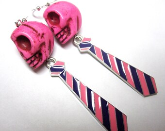 Sugar Skull Earrings Day of the Dead Jewelry Pink Purple Neckties