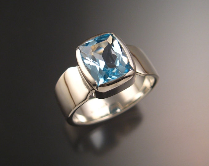 Blue Topaz ring Sterling Silver Cushion cut large Stone made to order in your size