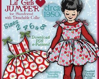 Girls Darlin' Winter JUMPER or SUNDRESS 1950s Vintage e-pattern 4 Sizes included - Sister Sets - Download Pdf