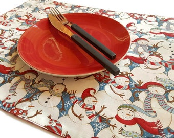 Retro, Snowmen Placemats, Set Of 4, Fabric Placemats, Blue And White